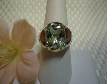 Cushion Cut Green Amethyst Ring in Sterling Silver  #690