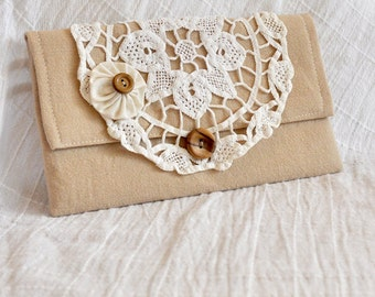 JOY! Clutch, Small Purse, Handmade, Classic Ecru Clutch with White Vintage Lace, Upcycled, Repurposed, Vintage inspired, Cottage Chic, OOAK