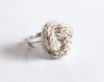 Knitted yarn ring, fiber ring, knit jewelry, yarn jewelry, beige