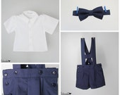 Boys outfit - Navy Blue cotton shortalls with H bar suspenders, bow tie and white shirt - 3-piece set