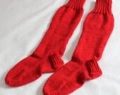 Wool Knee High Socks - Handmade Wool Socks - Red Knee High Socks - 100% Washable Wool Socks -  Women Size 7-9