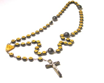 Vintage Wood Rosary - With Wood Letter Beads- N Senhora Guadalupe - Religious - Catholic - Christian # 1220