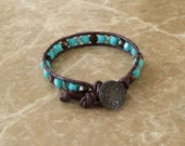 Single Wrap Amber Brown and Robbins Egg Blue Bead Leather Bracelet
