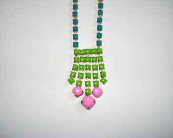 Color Blocked Hand Painted Vintage Rhinestone Gold Tone Necklace, 15 1/4 Inches