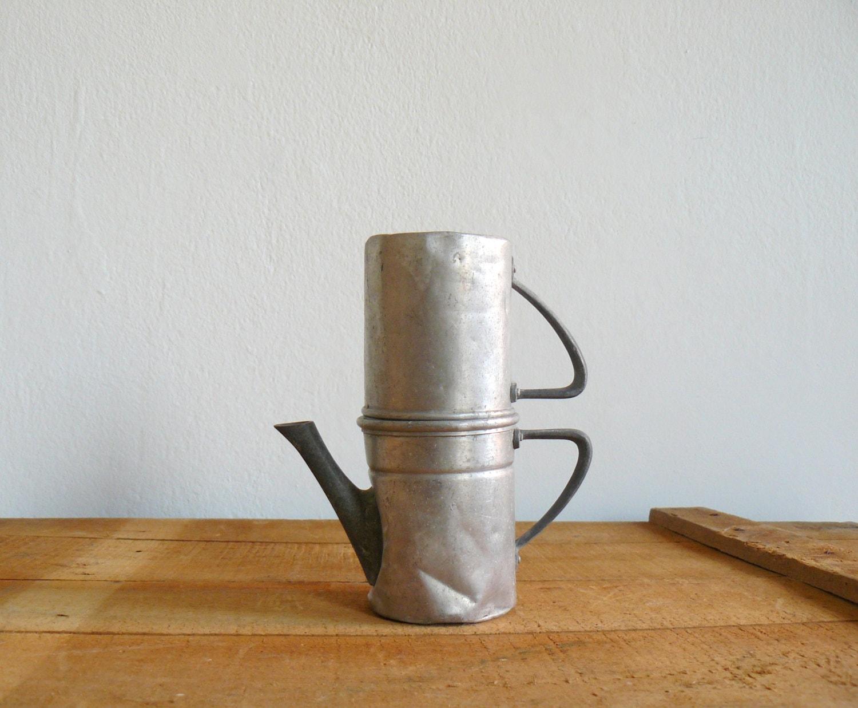 Neapolitan Flip Coffee Pot ~ Vintage italian coffee maker neapolitan aluminum flip by