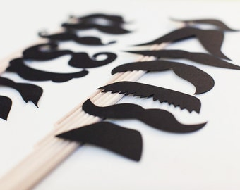 Photo Booth Props. Paper Mustache on a Stick - Set of 14 paper mustaches on sticks.