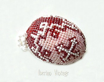 Beaded Egg, Decorated Egg, Russian Vintage, Hanging Ornament