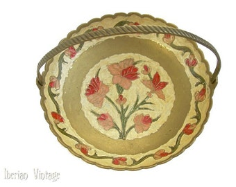 Vintage Brass Cloisonne Bowl With Handle, Hand Painted, Made in India