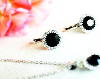 art deco clear crystal black swarovski rhinestone necklace earrings wedding jewelry bridal jewelry bridesmaids jewelry set