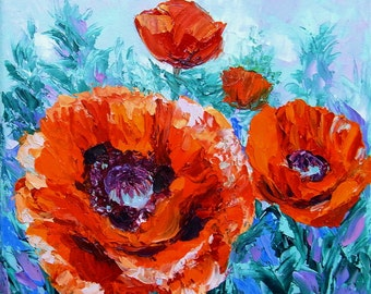 Small Oil Painting Poppy Flower Original Wall Art Palette Knife Textured Impasto on Canvas 8x8