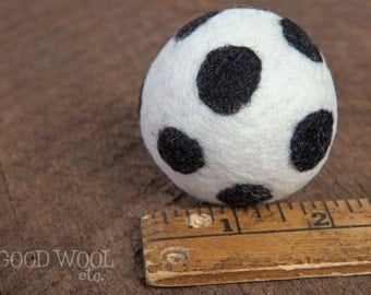 felted wool cat or small dog toy ball - white with black dots