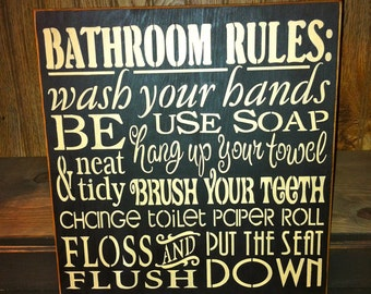 Primitive Bathroom Rules Subway Art Typography Sign