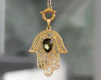 Hamsa Necklace Gold dipped with glass crystal Talisman Protection