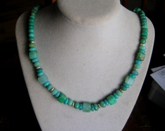 PRICE CUT Earthy  Chrysoprase Amazonite Green Opal and Sterling Silver Necklace