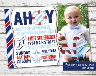 Sailor Nautical Invitation with photo
