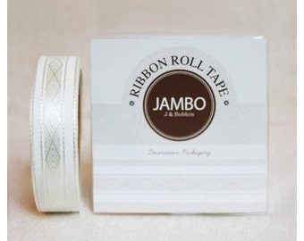 Adhesive Flora Ivory ribbon roll deco tape by J&Bobbin