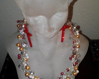 Wired pearl crystal crochet necklace 18 inch