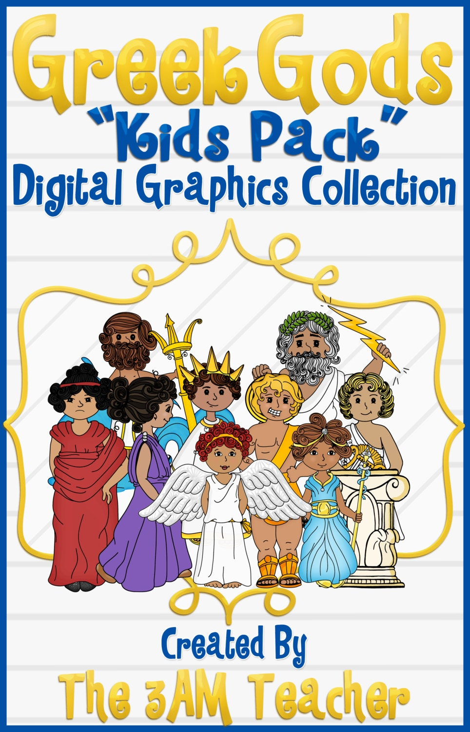 Greek Gods: Kids Pack Clip Art by The3AMTeacher on Etsy