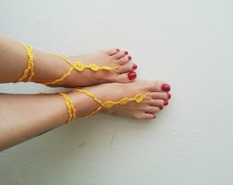 Lemon zest with Yellow beads Barefoot Sandals, Nude shoes, Foot jewelry, Bridal Accessories, Victorian Lace, Sexy, Lolita, Yoga, Anklet