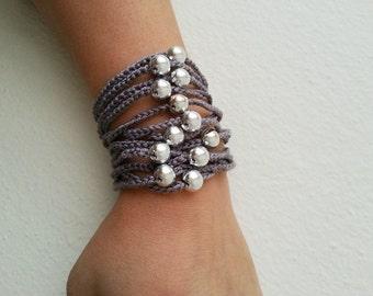 Gray Hand-crochet Rope Bracelet with silvery beads, beach,boho, lolita,wristband,wriststrap