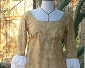 Regency Dress Late Colonial Era Floral Cotton Gothic Gown Empire Waist