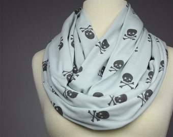 Mint  Scarf, Skull infinity scarf, Cotton jersey scarf, summer scarf