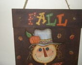 Primitive Fall Scarecrow with Crow wall or door hanger