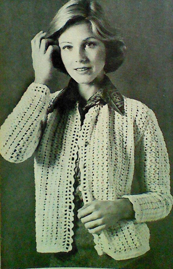 Crochet Patterns For Women s Cardigans : Five 5 Vintage Crochet Womens Cardigan Pattern by ...