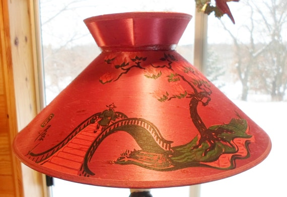 Antique 1930 S Asian Hand Painted Silk String Pagoda Lamp