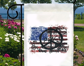 USA Flag Peace Small Ivory Garden Flag, Distressed Cool Design
