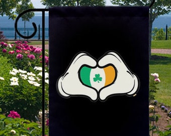 Cartoon Hands Irish Heart Shamrock Small Garden Flag Parties Home Boat Flag Pub