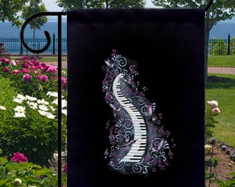 Gothic Piano Musical Glory New Small Garden Flag, Musicians, Novelty