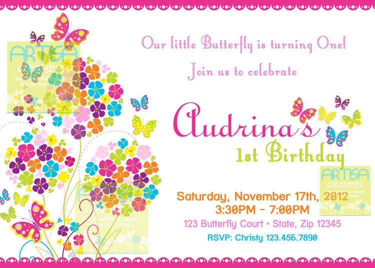 butterfly invitation bright color butterflies birthday, Birthday invitations