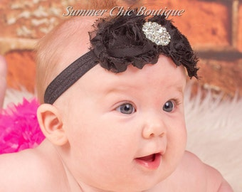 Baby Headband, Infant Headband, Newborn Headband, Toddler Headband - Shabby Chic Headband Black Rosettes
