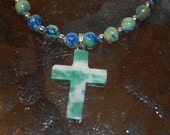 Sodalite Green Necklace with Green Marble Cross and Silver Toggle Clasp