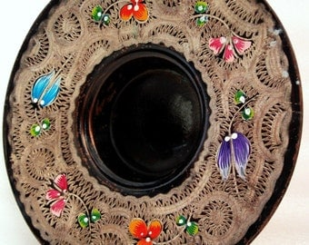 Vintage etched copper dish, hand painted, FLOWERS pink blue purple orange, MINI bowl, slim glass saucer, cup holder, floral