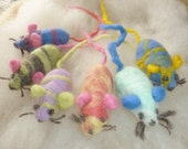 Spring Special FREE SHIPPING-2 pack, Organic Catnip, hand felted Mice for the Kitty in your life.