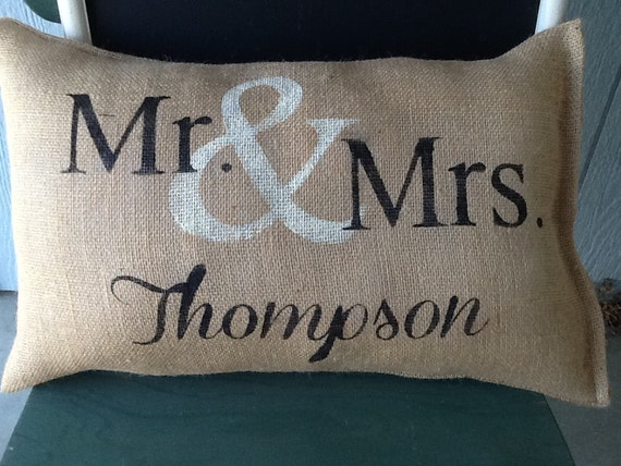 Personalized Burlap Mr And Mrs Pillow By Burlapheartstrings