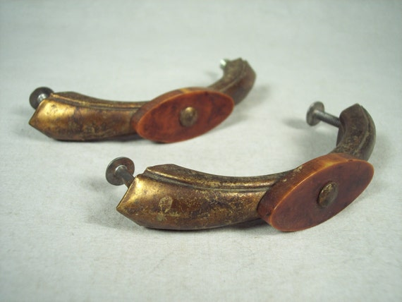 Pair Antique Brass Amp Bakelite Drawer Pulls Natural Patina