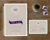DIY Printable Wedding Invitation Lavender Posy - 4 pieces
