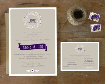 DIY Printable Wedding Invitation Lavender Posy - 4 pieces