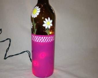 Hand Painted Recycled Wine Bottle with White Daisies in a Pink Basket
