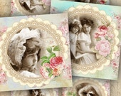 Vintage Squares - 3 x 3 inch circles - set of 6 - digital collage sheet - pocket mirrors, tags, scrapbooking, cupcake toppers