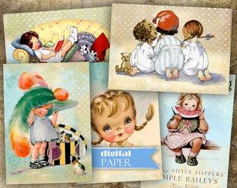 Vintage Illustration 1 - digital collage sheet - set of 8 cards - Printable Download