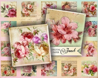 Flower Song - squares image - digital collage sheet - 1 x 1 inch - Printable Download