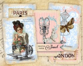 Sewing Vintage - digital collage sheet - set of 8 - Printable Download