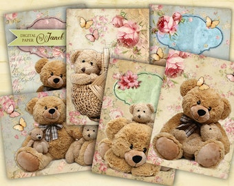 Teddy Bears - tags - digital collage sheet - set of 8 - Printable Download