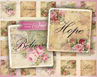 Hope, Dream, Love, Believe - squares image - digital collage sheet - 1 x 1 inch - Printable Download