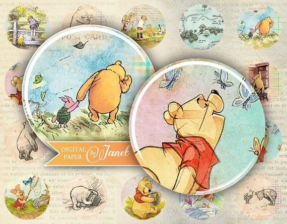 Winnie The Pooh - circles image - digital collage sheet - 1 x 1 inch - Printable Download