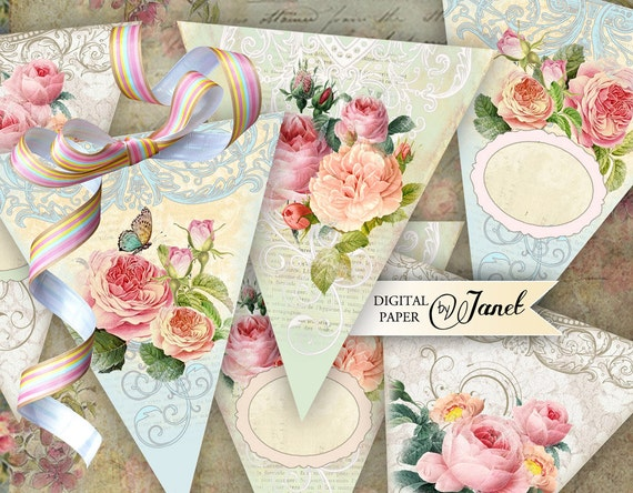 Roses Chic Banner - digital collage sheet - set of 3 sheet
